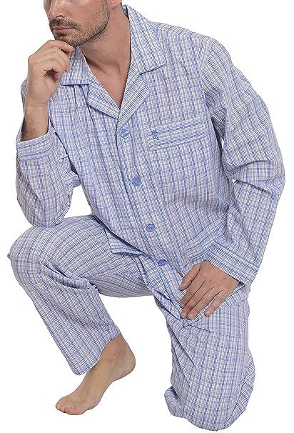 Pijama de Caballero | Pijama de Hombre de Manga Larga clásico a Cuadros | Ropa de