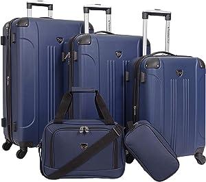 Travelers Club Sky+ Luggage Set, Navy Blue, 5 Piece