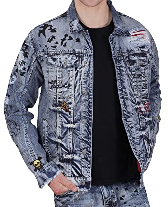 a7cba574aab Jordan Craig Legacy Edition Graffiti Denim Jacket at Amazon Men's Clothing  store: