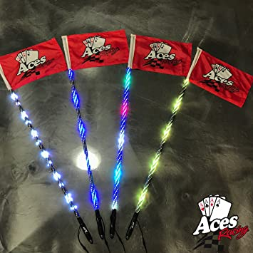 Deluxe Lighted Whips with Quick Connect and 1 Year Warranty 5 Foot Pair, 400 Combinations
