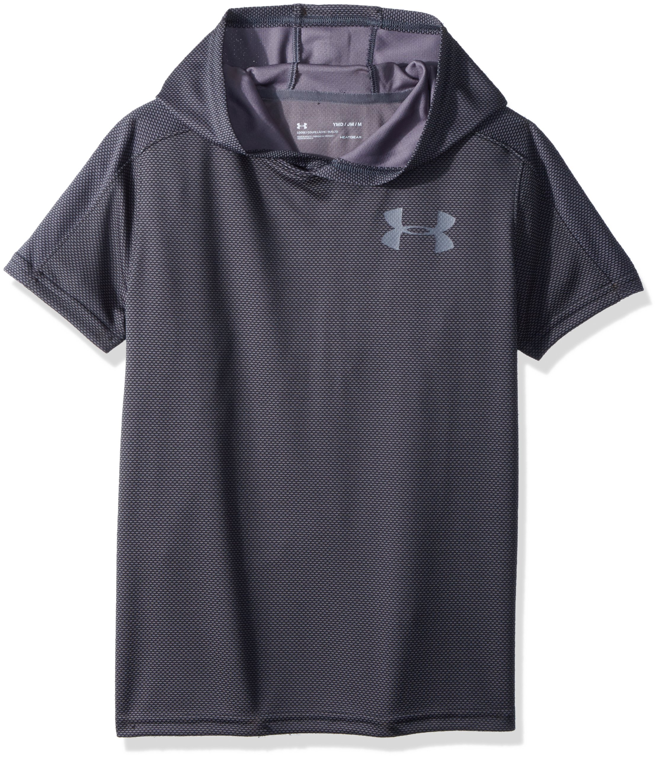 Under Armour Boys' Tech Textured Short Sleeve Hoodie, Black (001)/Graphite, Youth Medium by Under Armour