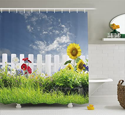 Ambesonne Rustic Shower Curtain Grass Foliage Field With Sunflowers Daisy Hedge Fence Yard Jardin Nature