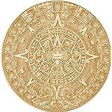 "Aztec Mayan Calendar Wood Coaster/Disc 4"" x 4"" Raw Wood"