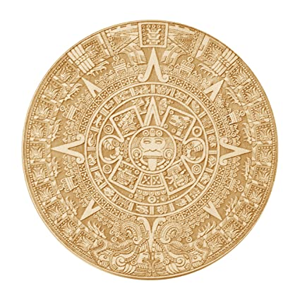 Aztec Mayan Calendar Wood Coasterdisc 4 X 4 Raw Wood