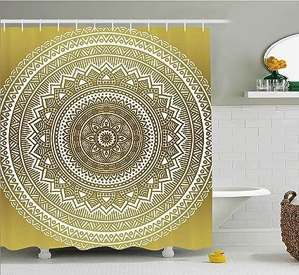 Amazoncom Ambesonne Gold Shower Curtain Ombre Mandala Flower