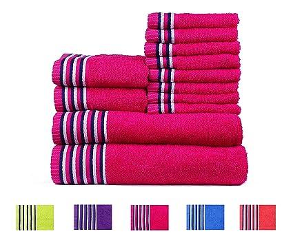 Trident Tiras 400 g/m², Juego de 12 toallas de algodón (baño,