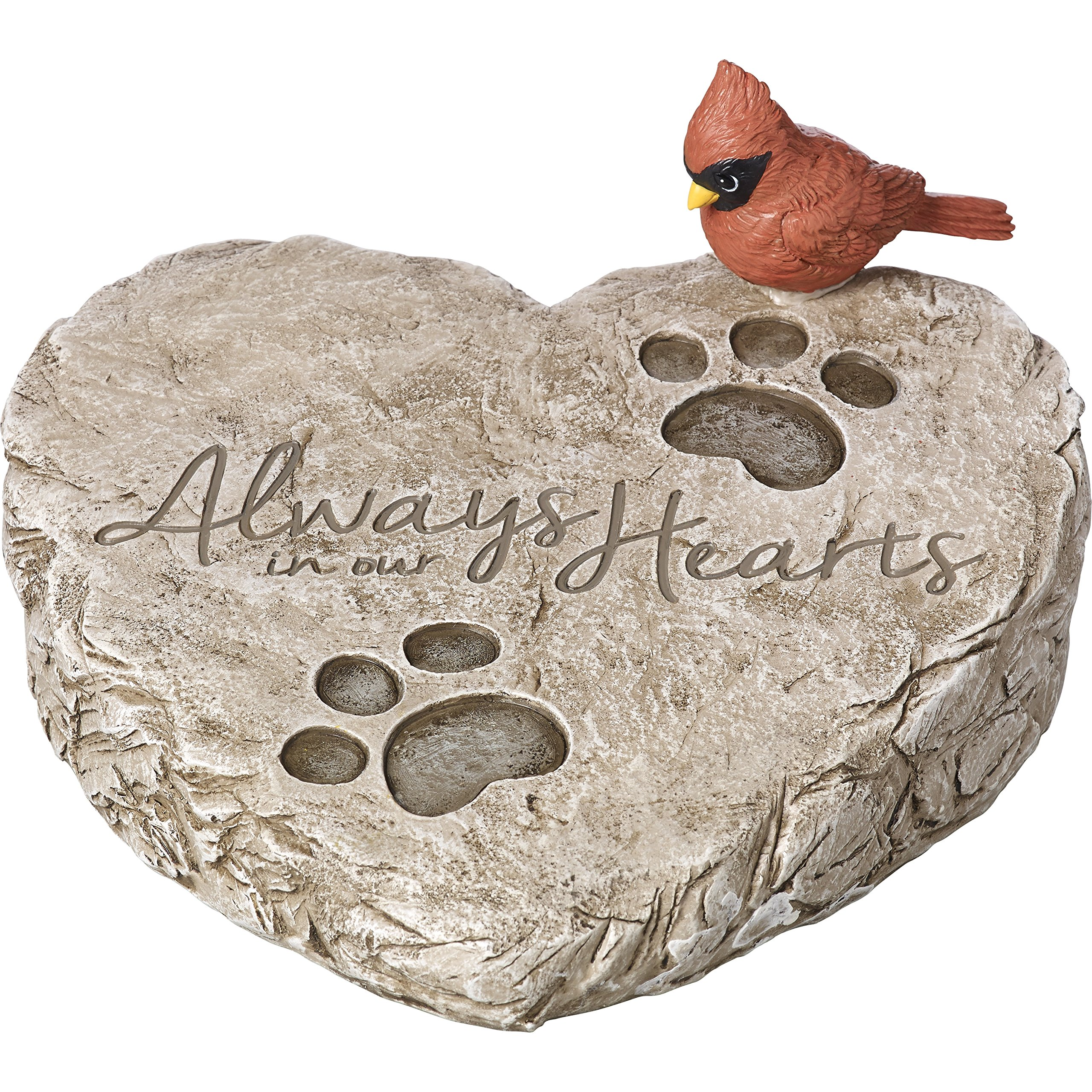 Precious Moments Garden Gifts by 171460 Always In Our Hearts Decorative Resin Memorial Garden Stone with Cardinal Accent Yard Decor, Gray/Red, 8-inch Long by 7-in Wide