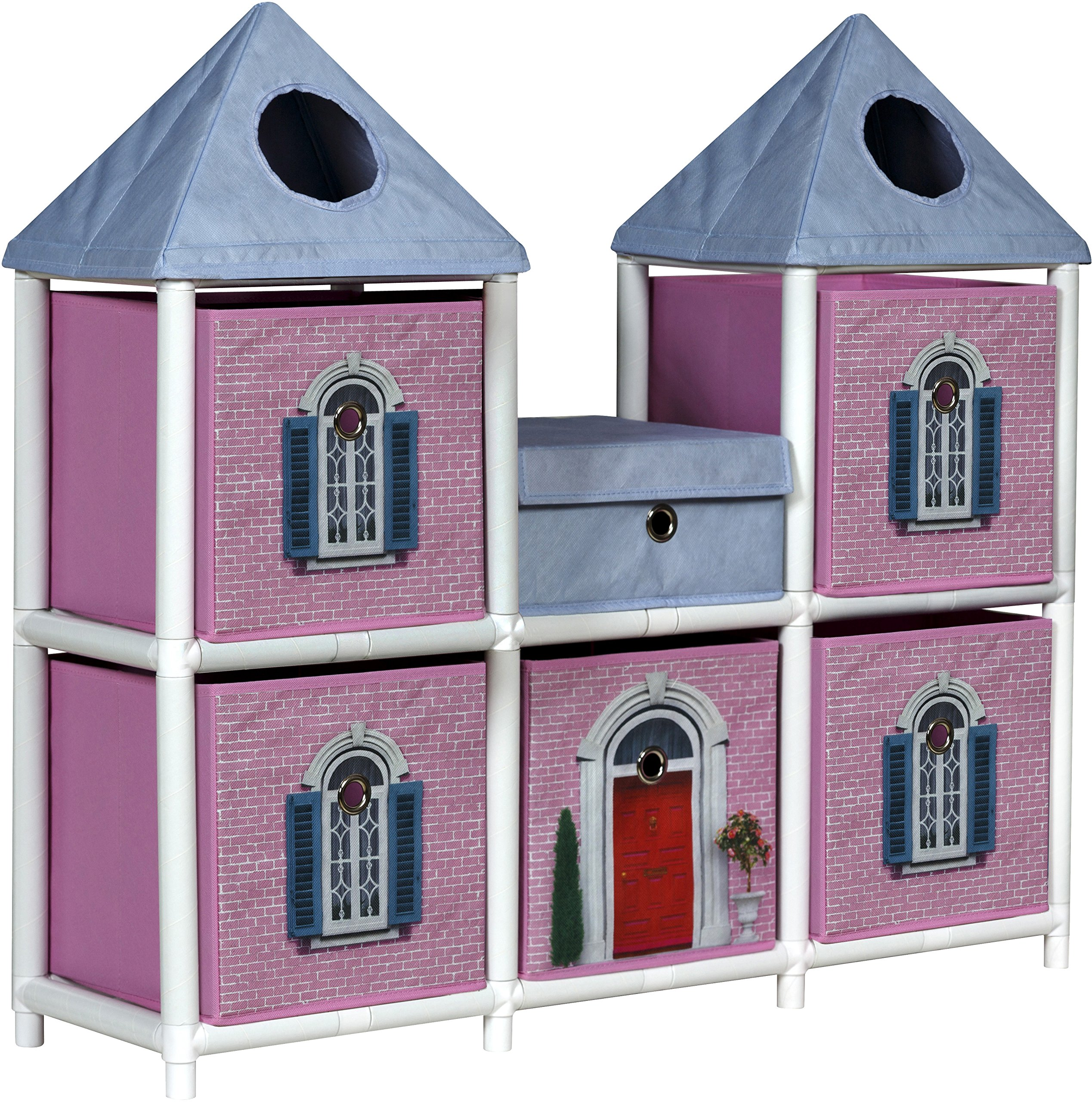 OneSpace 100% Recycled Paper Fantasy House Kids Storage Unit, Pink and Blue by OneSpace