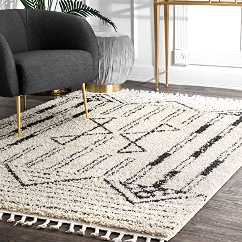 nuLOOM Janna Striped Shag Rug, 4 x 6 , Off White
