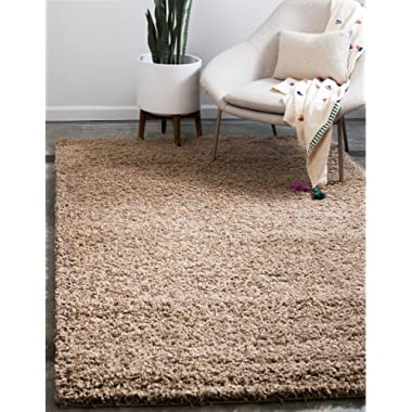 Unique Loom Solo Solid Shag Collection Modern Plush Sandy Brown Rectangle (4' x 6')
