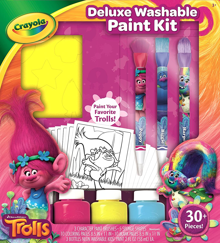 amazon com crayola trolls deluxe washable paint kit toys games