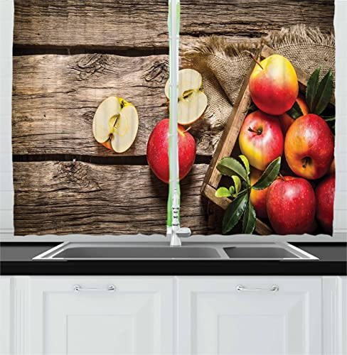 Ambesonne Fruits Decor Collection, Box of Apples in On Wood Floor Panel Rust Organic Nutrition Vitamin Harvesting Image, Window Treatments for Kitchen Curtains 2 Panels, 55 X 39 Inches, Green Peru