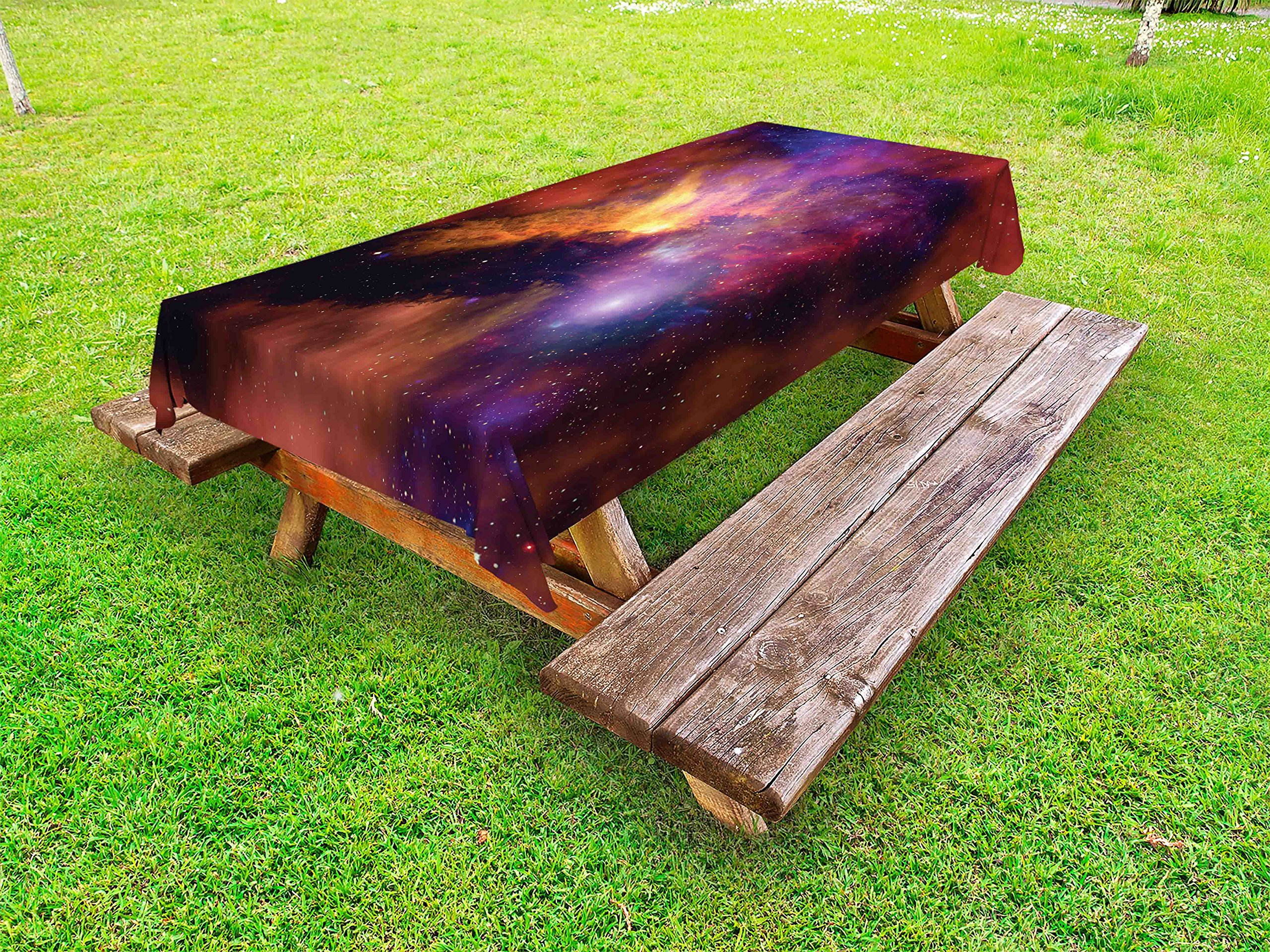 Lunarable Outer Space Outdoor Tablecloth, Space Stars and Nebula Gas and Dust Cloud Celestial Solar Galaxy System, Decorative Washable Picnic Table Cloth, 58 X 84 inches, Purple Red Orange
