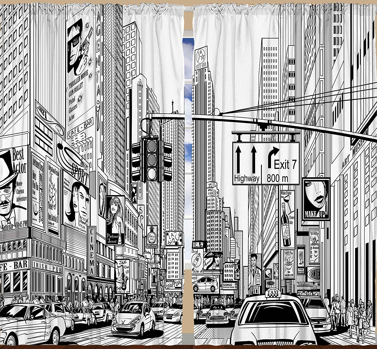 Amazon Americana Cityscape Decor Times Square Manhattan New York City Broadway Traffic Signs Curtains For Bedroom Living Dining Room Drapes 2 Panels