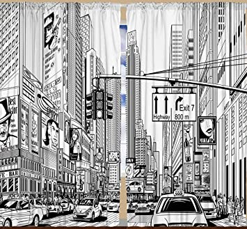 Americana Cityscape Decor Times Square Manhattan New York City Broadway  Traffic Signs Curtains For Bedroom Living
