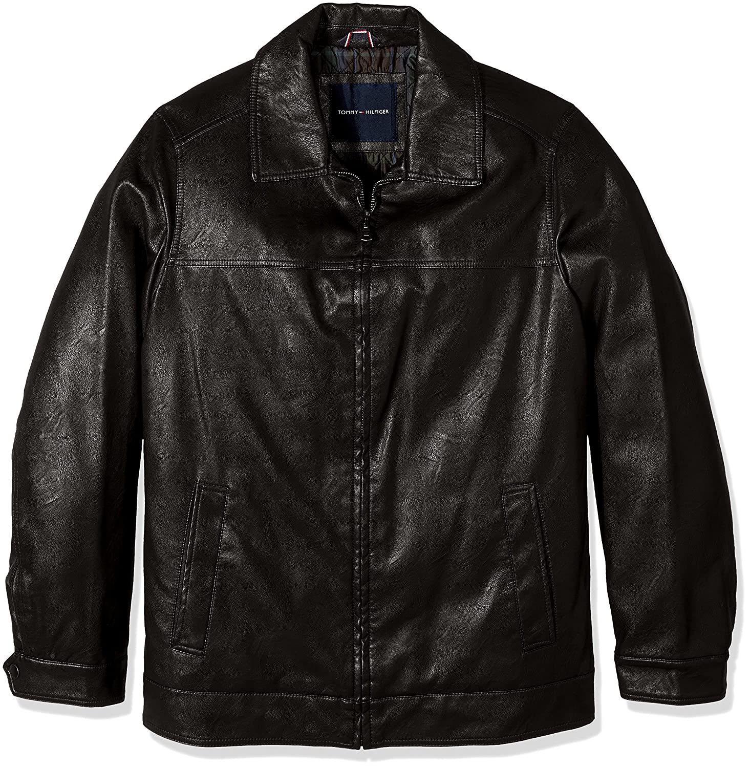 Tommy Hilfiger Mens Big and Tall Smooth Faux Leather Classic James Dean Jacket 155XU845
