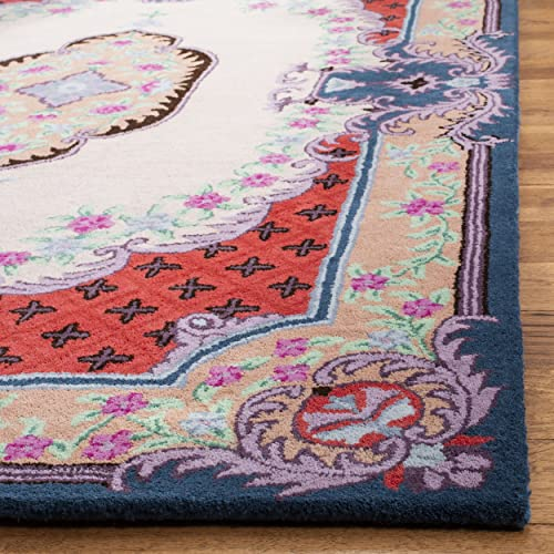 Safavieh Bellagio Collection BLG535A Ivory and Pink Premium Wool Area Rug 2 6 x 4