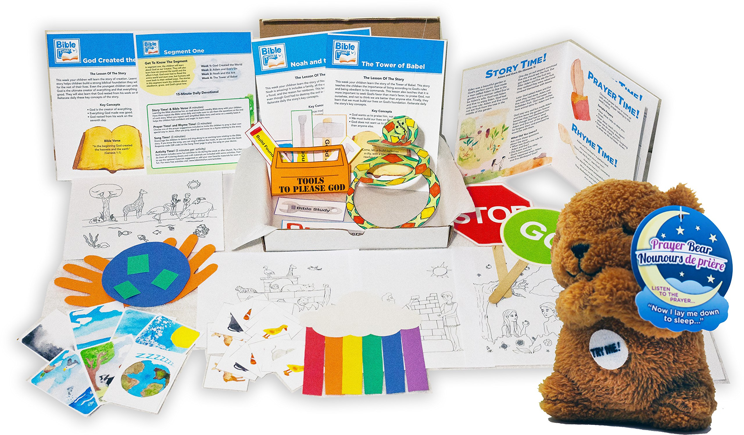 1 Year Bible Time Family Fun Pack Subscription ~ Bible Based Stories, Prayers, Crafts, Activities, Songs, Rhymes, Memory Verses and More ~ Plus Free Plush Prayer Bear Toy