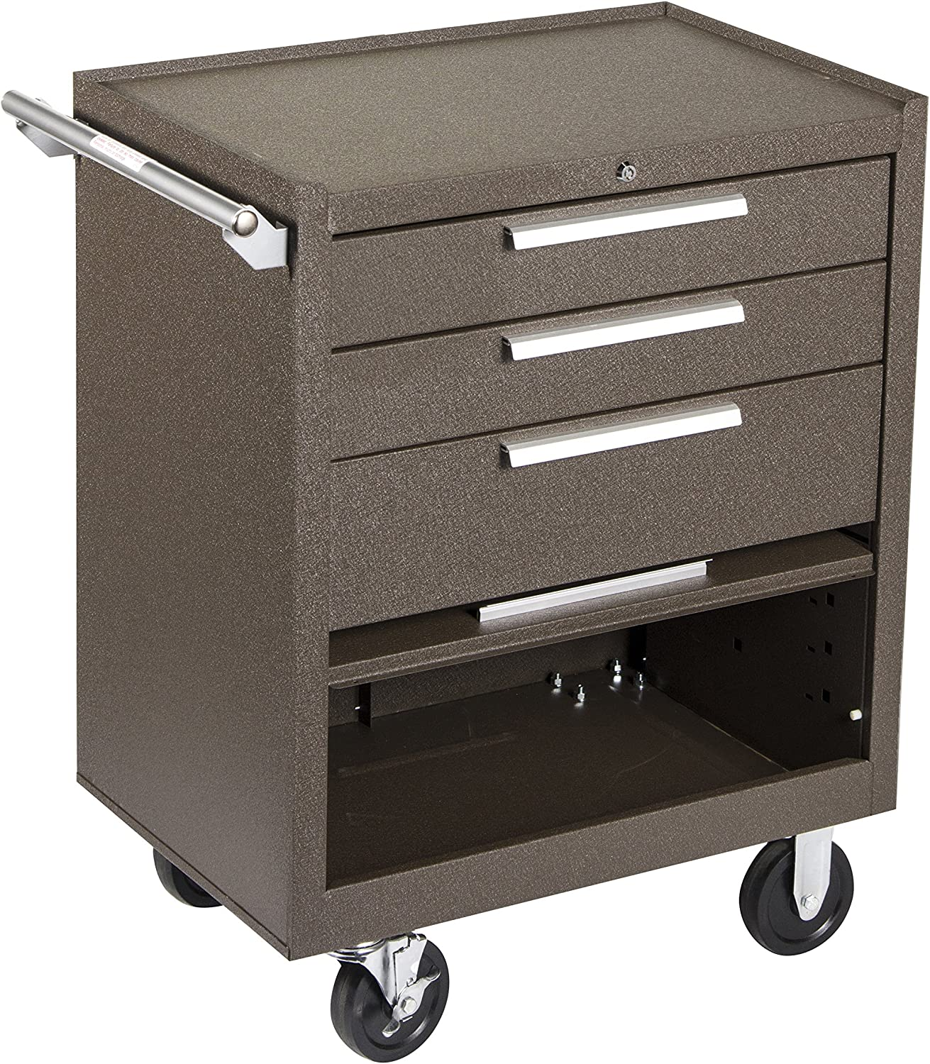 "Kennedy Manufacturing 273Xb 27"" 3-Drawer Industrial Tool Storage Roller Cabinet With Chest And Wheels, Tan Brown Wrinkle"