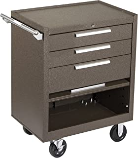 """product image for Kennedy Manufacturing 273Xb 27"""" 3-Drawer Industrial Tool Storage Roller Cabinet With Chest And Wheels, Tan Brown Wrinkle"""