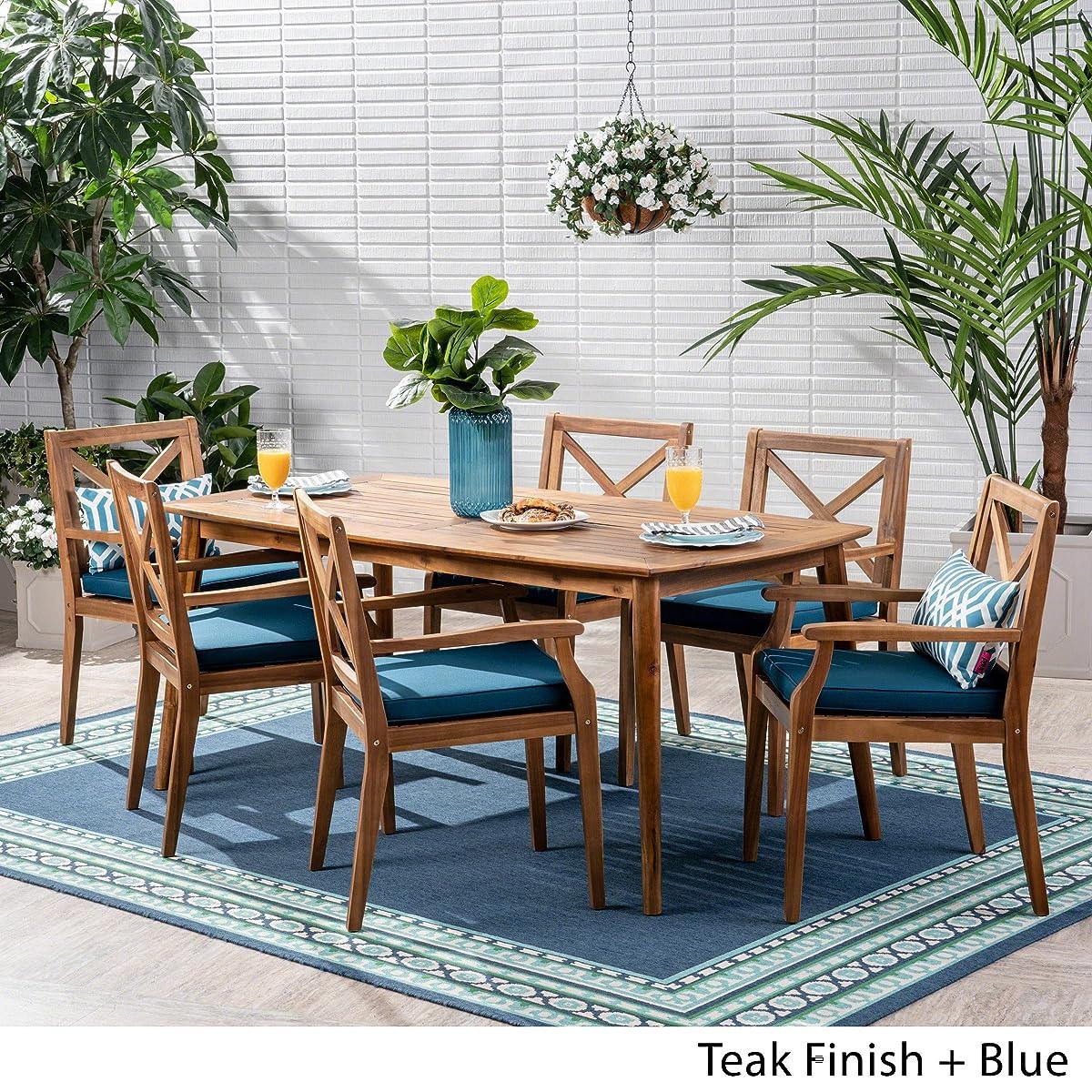 Great Deal Furniture Harvey Outdoor 7 Piece Acacia Wood Dining Set, Teak and Blue