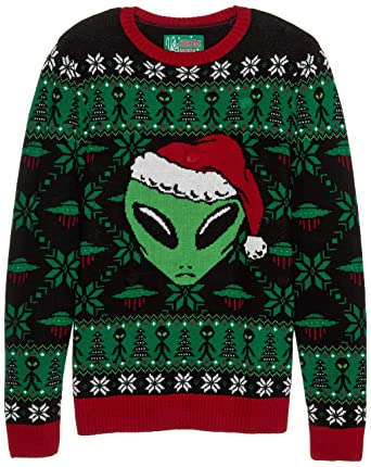 422c0bec81 Ugly Christmas Sweater Company Men s Ugly Christmas Sweater-Light-up Xmas  Alien at Amazon Men s Clothing store