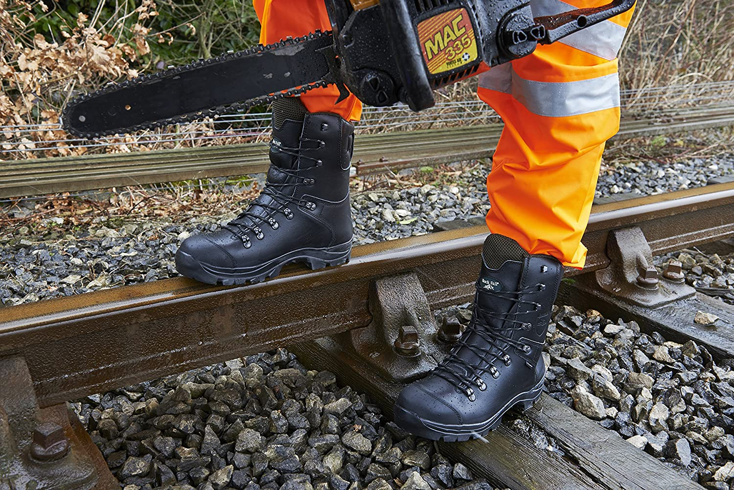 Rock Fall RF328 Chatsworth Black Chainsaw Boots Kevlar Steel Toe Cap Safety Boot