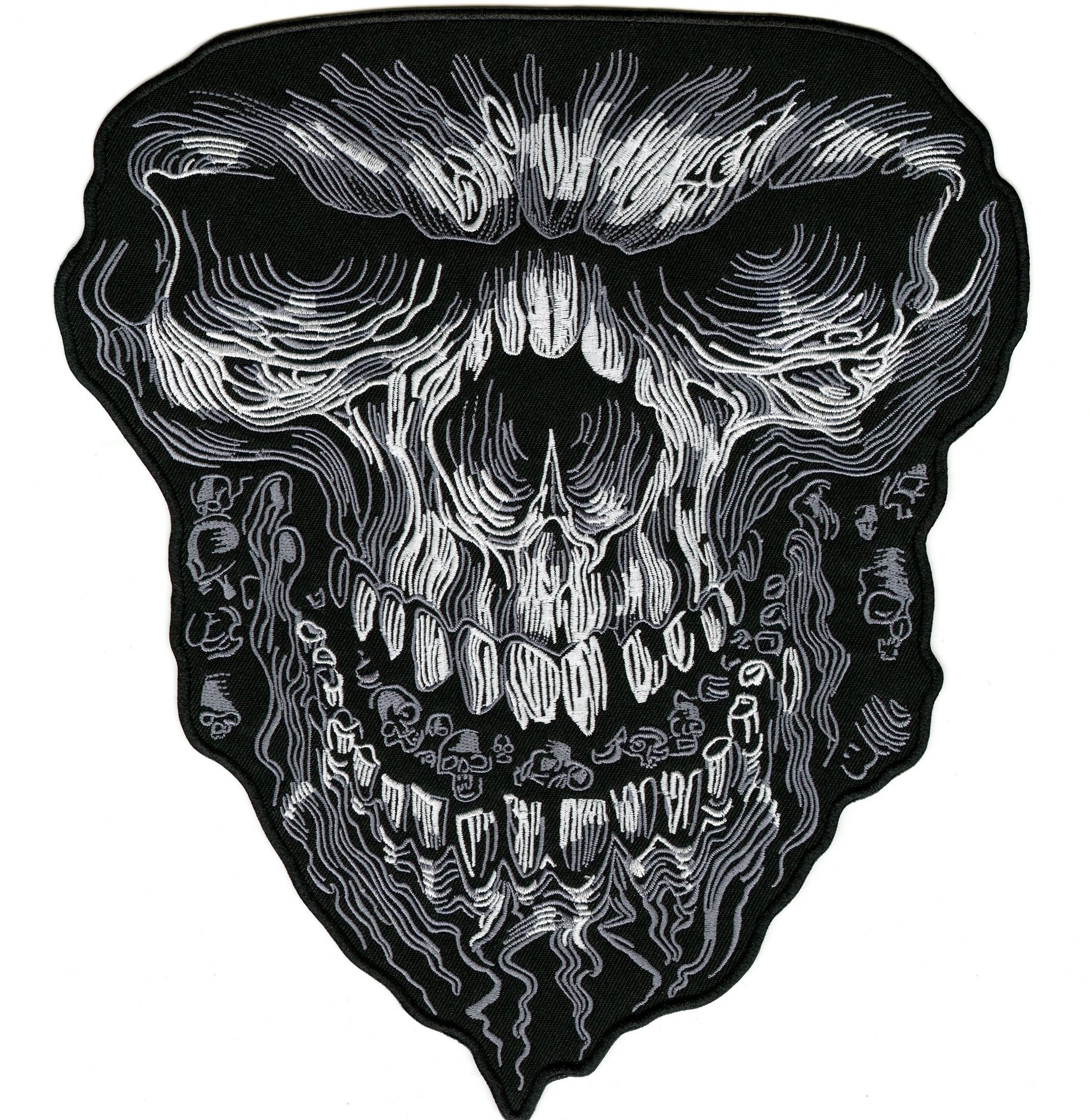Huge Evil Skull | Iron On Mean Embroidered Motorcycle Back Patch Large - by Nixon Thread Co. (11'') by Nixon Thread Co.