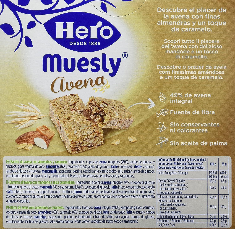Hero Muesly Barrita de Avena con Almendras y Caramelo - 4 Unidades: Amazon.es: Alimentación y bebidas