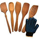 Wooden Cooking Spoons Set With 2 Bonus Oven Gloves - Natural Hardwood Cooking Utensils – 5 Nonstick Wooden Spatula and Spoons for Kitchen - Super Durable Eco-friendly Beechwood Spoons by Ecosall