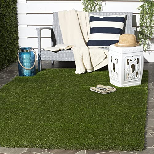 Safavieh Vista Shag Collection VST100A Verdant Green Indoor Outdoor Faux Grass Area Rug 9 x 12