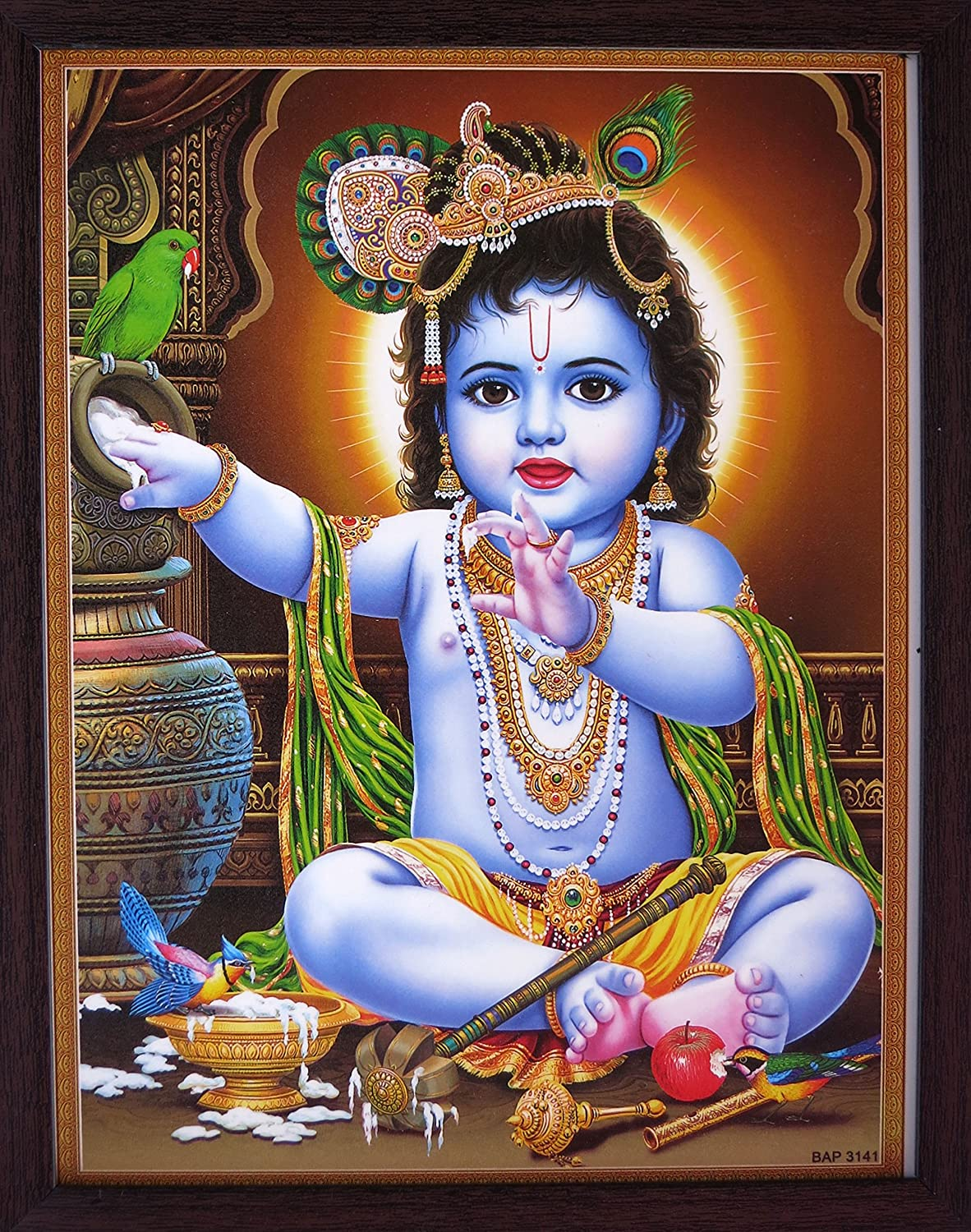 Handicraft Store Lord Child Bal Krishna Playing with Butter and Parrots are Enjoying, a Decorative Religious Poster with Beautiful Frame,