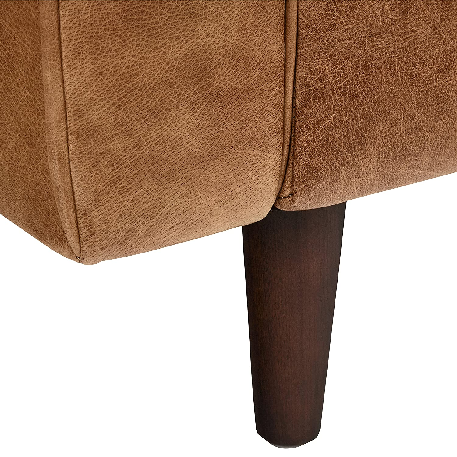 Rivet Aiden Tufted Mid-Century Modern Leather Accent Chair, 35.4 W, Cognac
