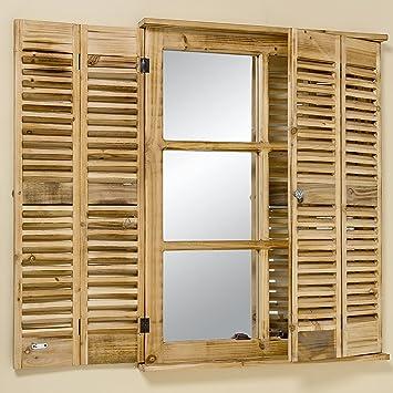 Landhaus Fenster wandspiegel fensterladen 90cm höhe braun fenster spiegel landhaus