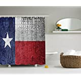 Ambesonne Western Decor Collection, Texas State Flag Painted on Luxury Crocodile Snake Skin Patriotic Emblem, Polyester Fabric Bathroom Shower Curtain Set with Hooks, Burgundy Navy White