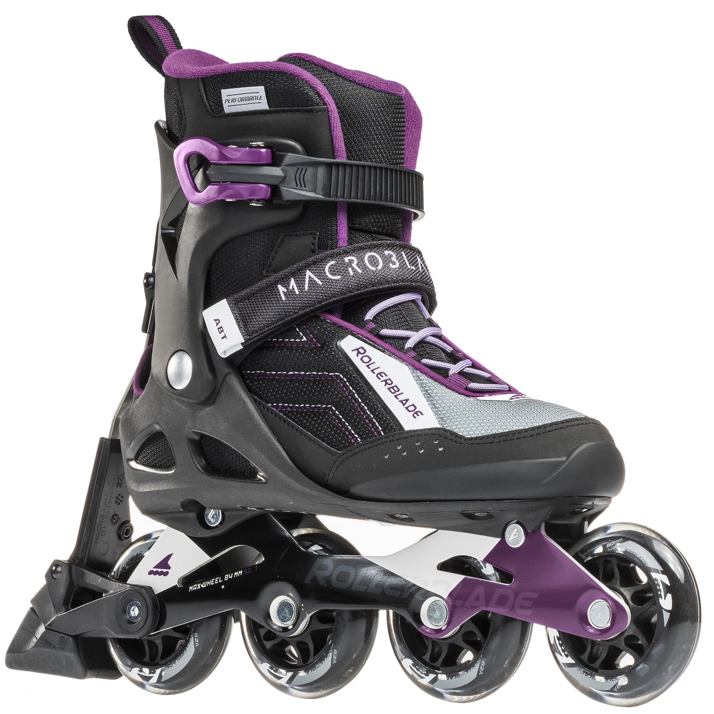 Rollerblade Macroblade W 80 ABT Specific Fit SG7 Bearings Inline Skates, Black/Purple, US Women's 8.5