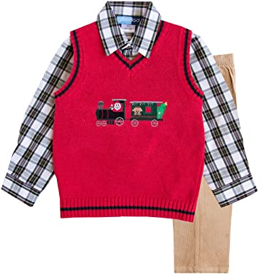 good lad toddler boy three piece red train with christmas motif appliqued sweater set 2t
