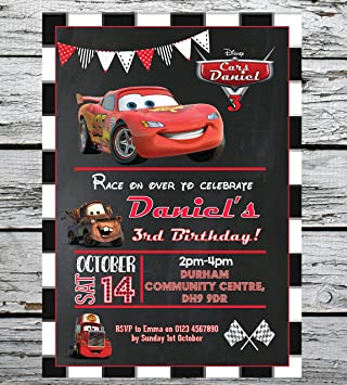 10 Personalised Birthday Party Invitations Disney Cars Lightning McQueen Envs Amazoncouk Kitchen Home
