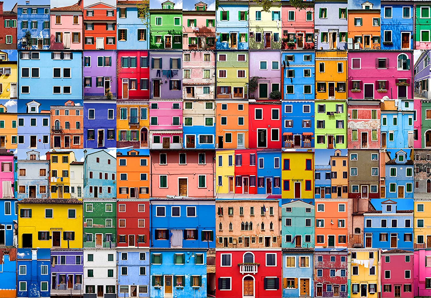 Puzzle Press | Colorful Houses Picture Puzzle 1000 Piece Family Jigsaw Puzzle - Beautiful Colorful Architecture Puzzles