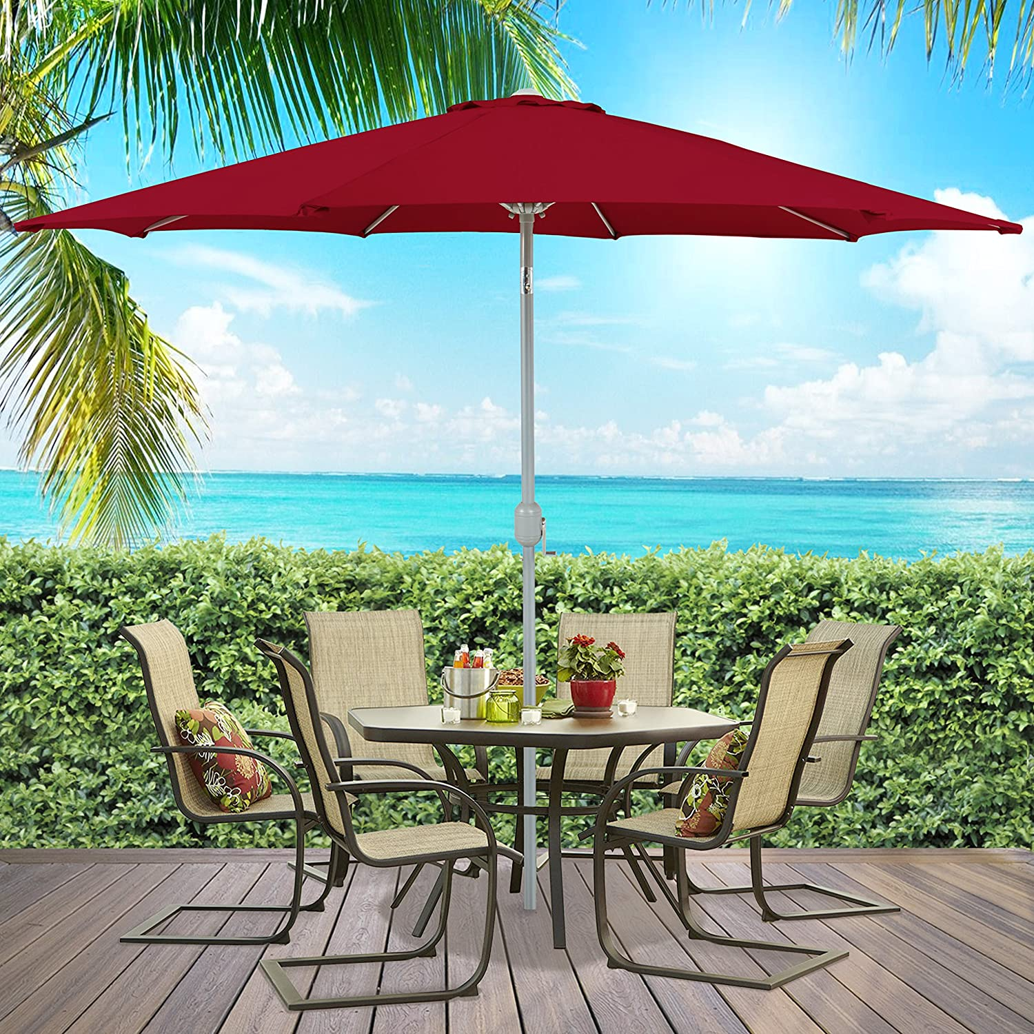 amazon com best choice products patio umbrella 9 aluminum patio
