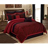 8 Piece WISTERIA Branches Jacquard Comforter Set Burgundy, Queen King Cal.King Size (King)