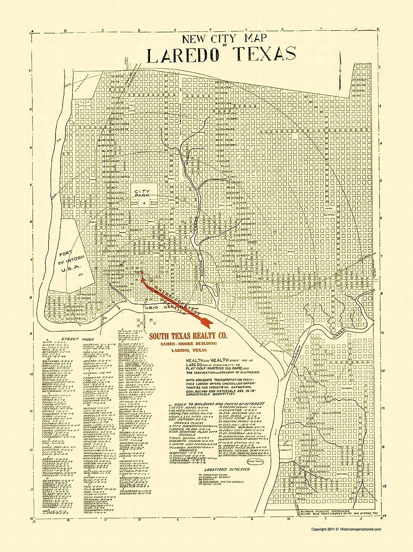 Map Of Texas Showing Laredo.Amazon Com Maps Of The Past Laredo Texas Alamo Blue Print
