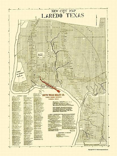 Map Of Texas Showing Laredo.Amazon Com Old City Map Laredo Texas Alamo Blue Print 1930 23