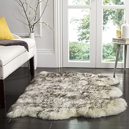 2 Safavieh Sheepskin Collection SHS121E Genuine Pelt Ivory And  Smoke Grey Premium Shag Rug 3