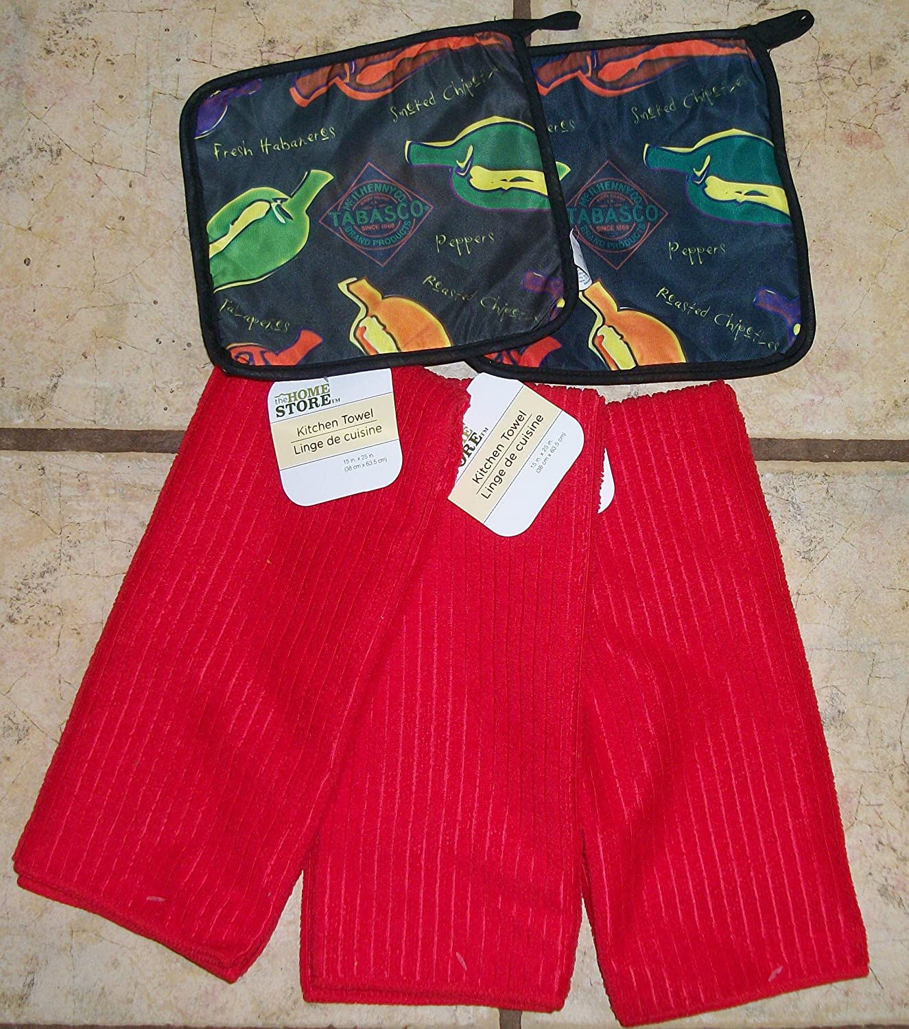 Red Cotton Velour Dish Towels and matching Jalapena Pot Holders