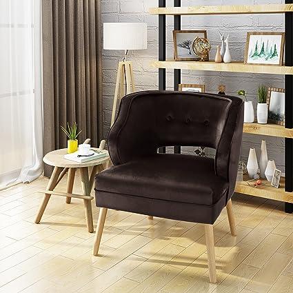 Michaela Mid Century Chocolate Velvet Accent Chair