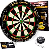 Ignat Games Professional Dart Board - Bristle/Sisal Tournament Dartboard with Complete Staple-Free Blade Wire Spider + Darts Measuring Tape + Darts Rules eBook