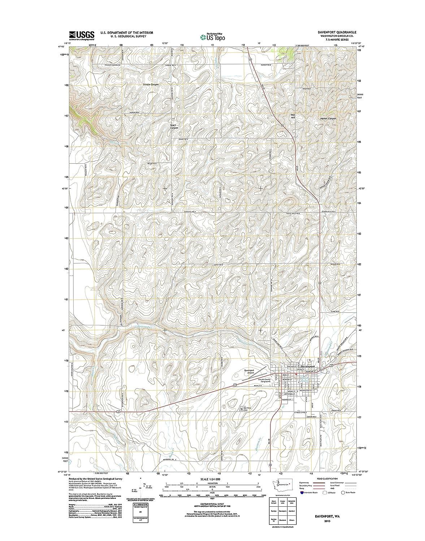 Davenport Washington Map.Amazon Com Topographic Map Poster Davenport Wa Tnm Geopdf 7 5x7