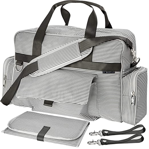 $28.99 (reg $50) Diaper Bag Gray and Cream Stripe by O'beanie