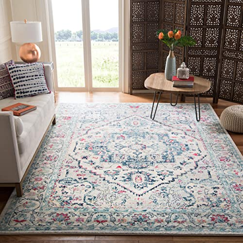 Safavieh Madison Collection MAD930N Navy and Fuchsia Area 6 x 9 Rug